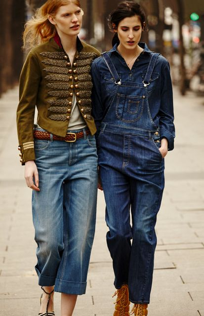 What a lot of denim. Love these overalls worn with a matching denim shirt. More Denim Trends, 2016 Denim, Denim Jumper, Denim Diaries, Street Style, Double Denim, Fashion Friends, Neck Ties, Denim Besties Double Denim Anniek Kortleve and Amanda Moreno April 2015 for S Moda by Nacho Alegre Denim besties denim jumper with black lace ups. Street Style Fashion Friends THE NECK TIE