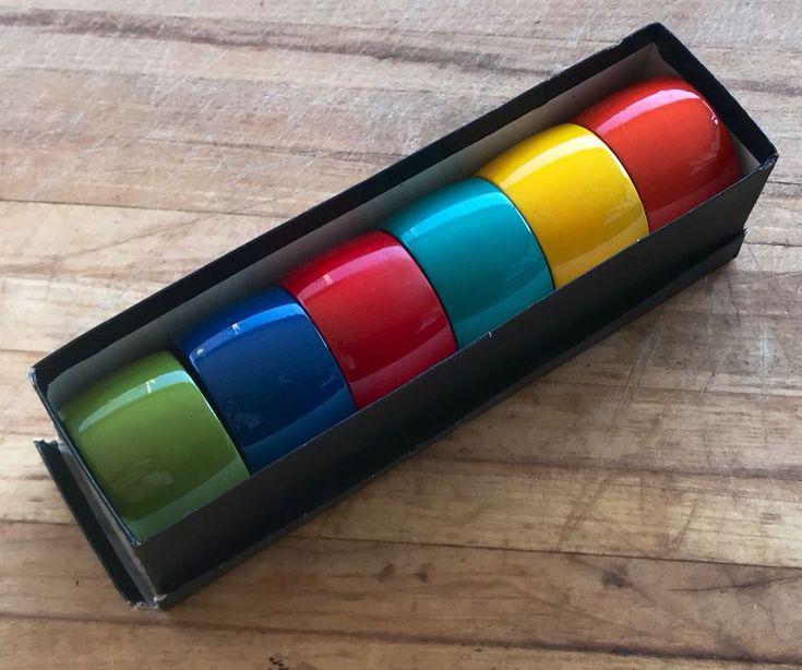 Vintage Napkin Rings Muti Colour Resin Set Of 8 Mid Century Modern Hostess Decor | eBay