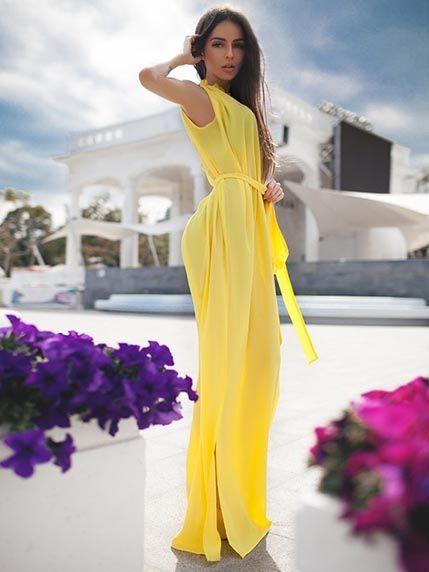 Платье желтое - Miss Queen - 2406950