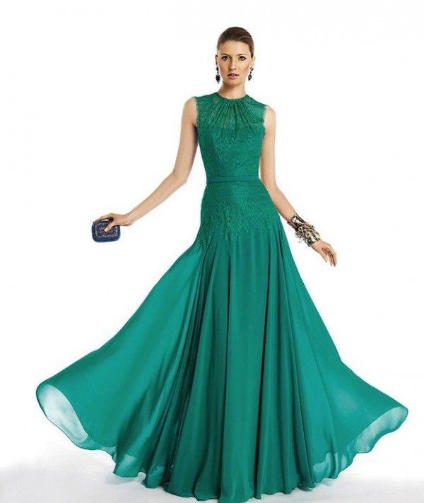 Vestido verde botella azul