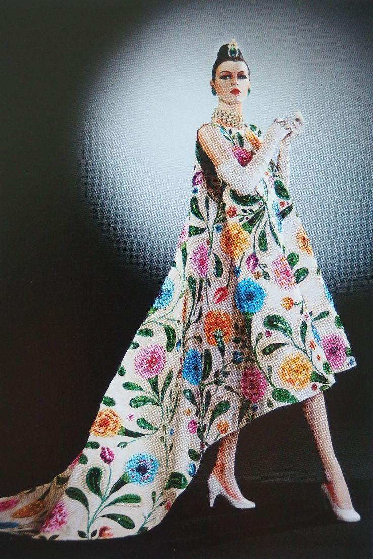 Model wearing an evening gown by Balenciaga 1958.