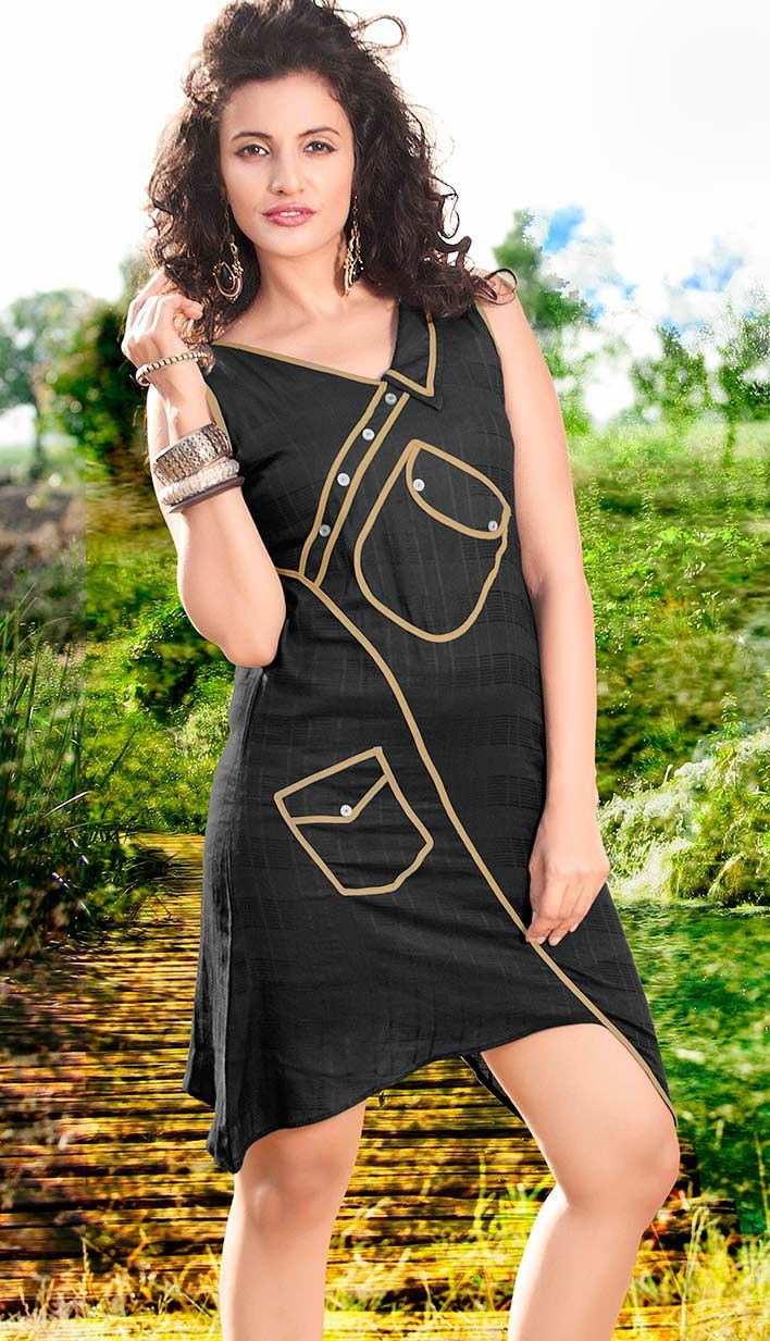 Shop online Indian Beautiful Black #CottonKurti Product code: KKR-35748 Price: INR 1480 (Readymade size), Color: Black      Shop Online now: http://www.efello.co/Kurti_Indian-Beautiful-Black-Cotton-Kurti_4878