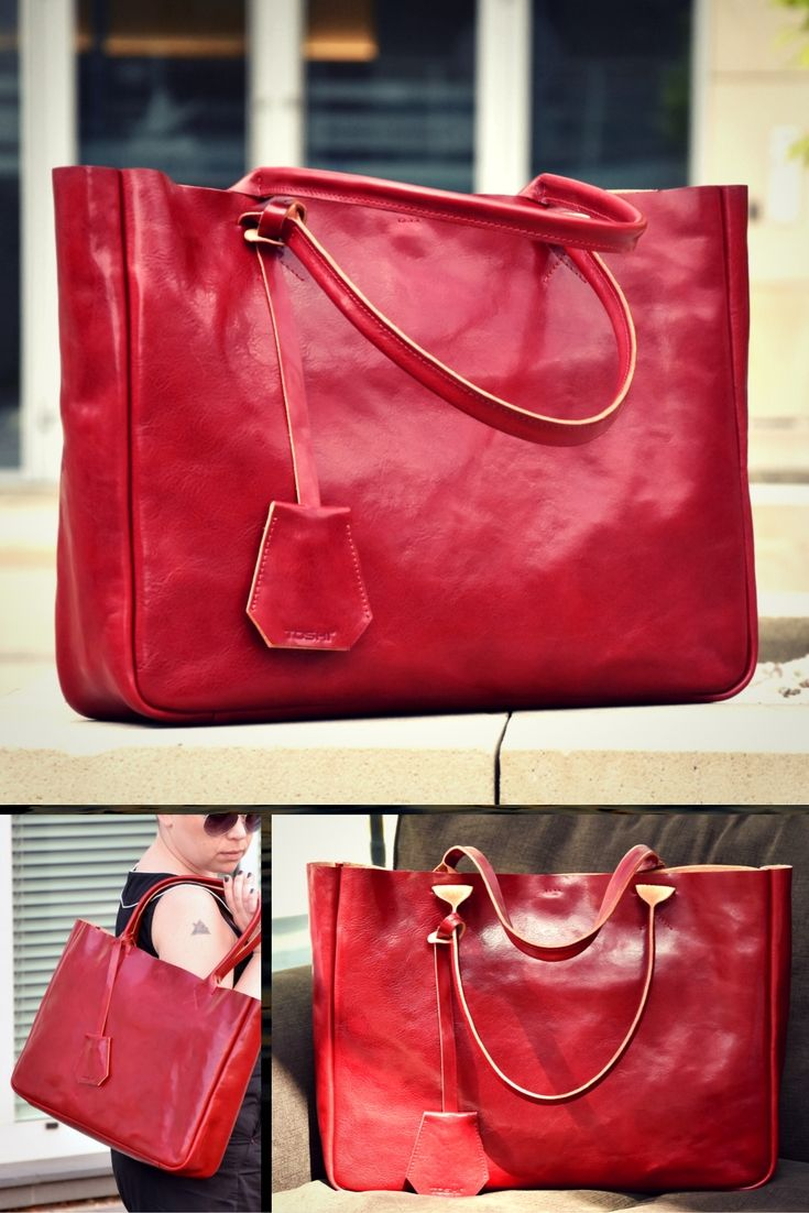 Ferrari Red Leather Tote Bag. Handcrafted leather bag in beautiful juicy red color. Classic style for everyday use #bag #leatherbag