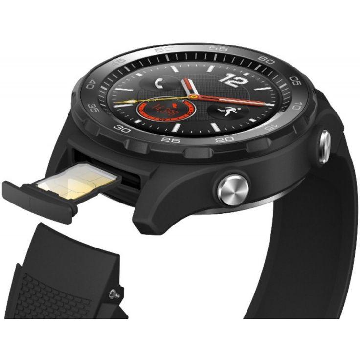 Smartwatch Huawei Watch W2, 4G, bratara Carbon Black Sport