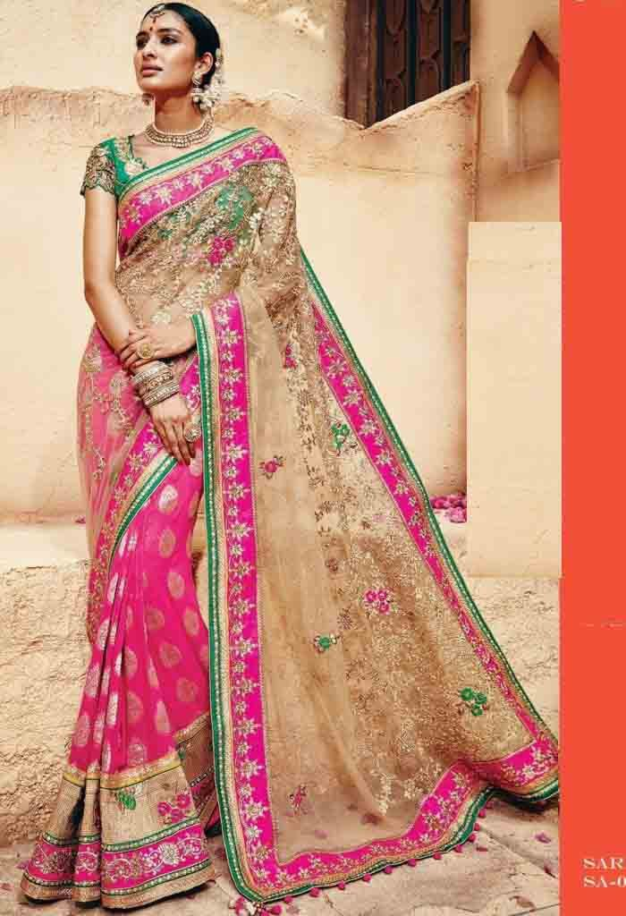 Pink Georgette,Net Designer Saree With Heavy Embroidery Work..@ fashionsbyindia.com #designs #indian #fashion #womens #style #cloths #fashion #stylish #casual #fashionsbyindia #punjabi #suits #saree #wedding