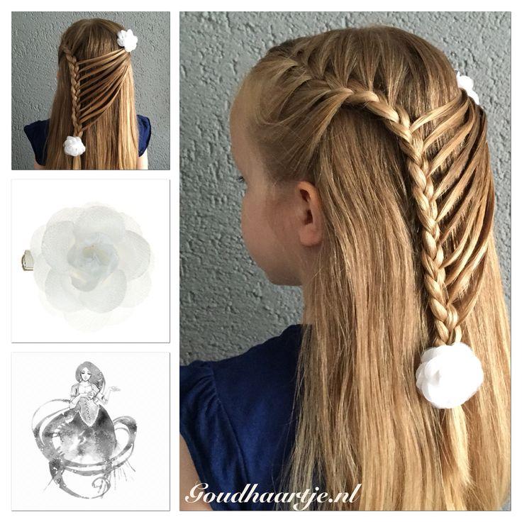 Hairstyle with flower hairclips from Goudhaartje.nl  #hairstyle #braid #hairclip #hairflower #hairaccesories #haarstijl #vlecht #haarclip #haarbloem #haaraccessoires #goudhaartje