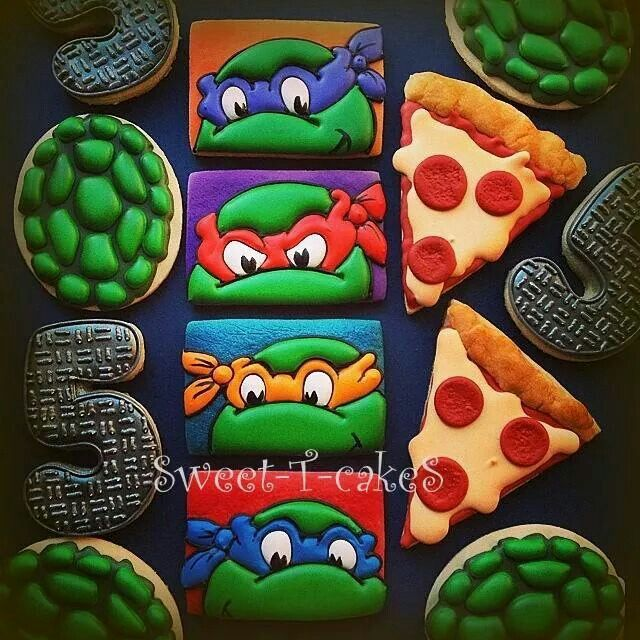 Mutant Ninja Turtles birthday cookie set for a 5 yr old's birthday by Sweet-T-Cakes.