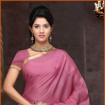 Pink Pure Mysore Silk Saree With Blouse Online Shopping: STC170A
