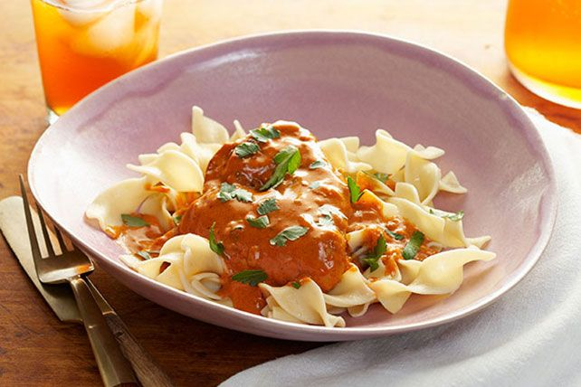 Test your spice tolerance with this Chicken Paprikash! Your competitor? A sauce made of ground cayenne pepper, Hungarian paprika and black pepper.