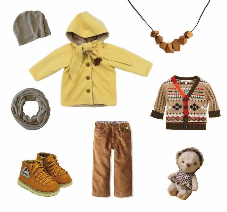 "Yellow coat Grecha ""corn"", hat and scarf Grecha ""coffie and milk"""