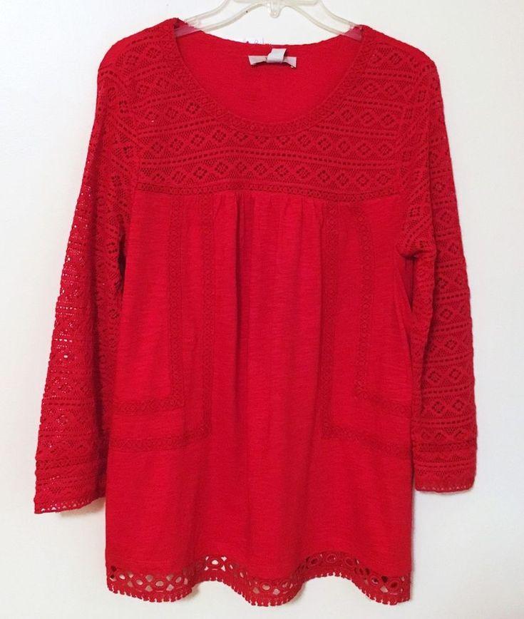 Vintage America NEW Red Tunic Top Boho Semi Sheer Crochet Lace Trim Stretch XL #VintageAmerica #Blouse #Career