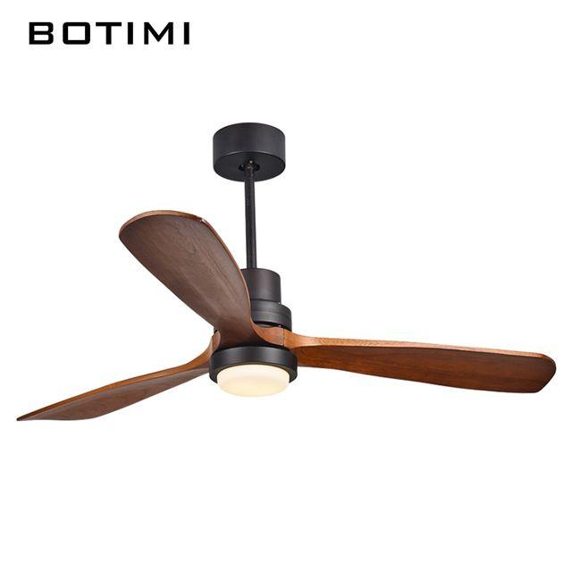 Botimi新しい天井ファンでリモート用リビングルーム52インチ3ブレードledファン付きライトホーム220ボルトventiladorデテト木材ライト