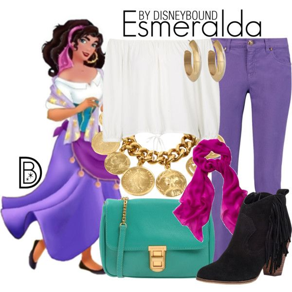 Esmeralda by leslieakay on Polyvore featuring Topshop, Emilio Pucci, Steve Madden, Coccinelle, Ben-Amun, House of Harlow 1960, disney, disneybound and disneycharacter