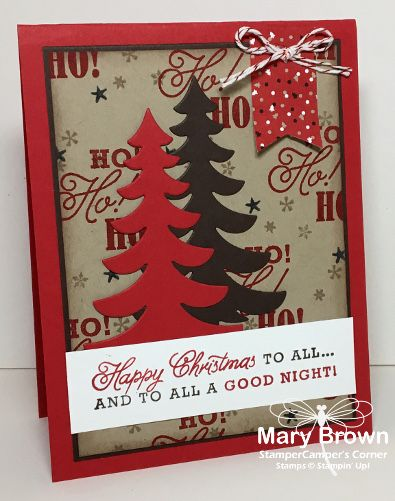 stampercamper.com - The theme for this week's Create with Connie and Mary Design Team Saturday blog hop was Homespun Christmas.  I created my own background paper for this project and LOVE the tree from Santa's Sleigh.  Visit my blog for details and to start the hop.  Set: Greetings from Santa