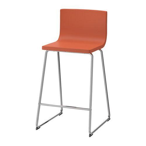IKEA - BERNHARD, Barkruk met rugleuning, Door de rustgevende vering in de zitting zit je comfortabel.Door de gestoffeerde zitting zit je comfortabel.Zacht, slijtvast en onderhoudsvriendelijk leer dat een mooi patina krijgt.
