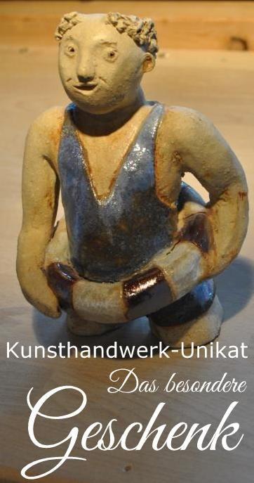 Besondere Geschenkidee #Gartenfigur #Gartendko #Schwimmer #Keramik