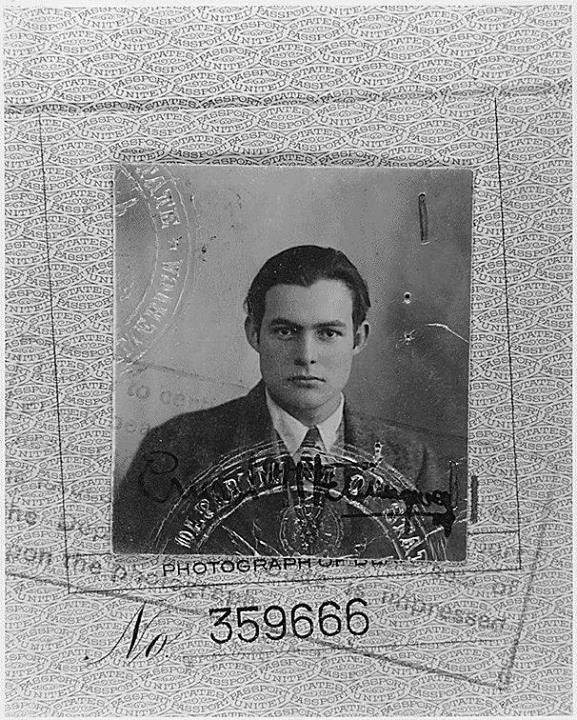 1923 passport photo, Hemingway