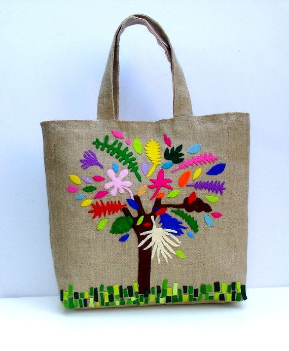 Chic Jute summer Tote bag by Apopsis on Etsy