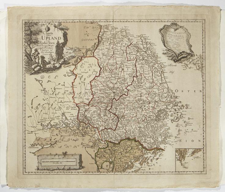 Karta över Uppland från 1742. Map over Uppland, Sweden, from 1742.