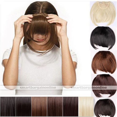 Pretty Girls Clip On Clip In Front Hair Bang Fringe Hair Extension Straight USA #SHYJULY #Bangs