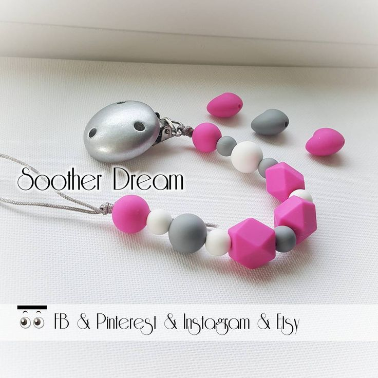 """""""Hot pink silicon pacifier with 3 geometric/ Diament beads! . . . #sootherdreamboutique…"""""""