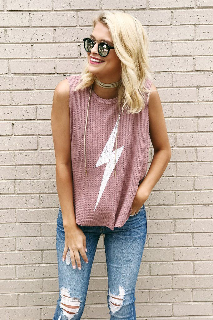 When Lightning Strikes Graphic Tank in Dusty Pink