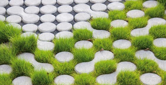 eco grass pavers - porous stones are permeable for water LUMIX pavement (made by GODELMANN):