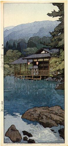 Garden in Summer by Hiroshi Yoshida (1933).. like the reflection at the surface.... most likely woodblock prints?