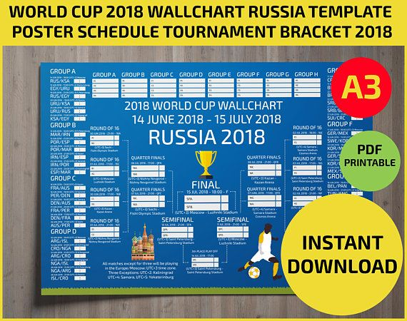 Wallchart Fifa 2018 World Cup Russia Pdf Printable Bracket Mondial Template Calendar Planner Match Sch World Cup Fixtures World Cup World Cup 2018