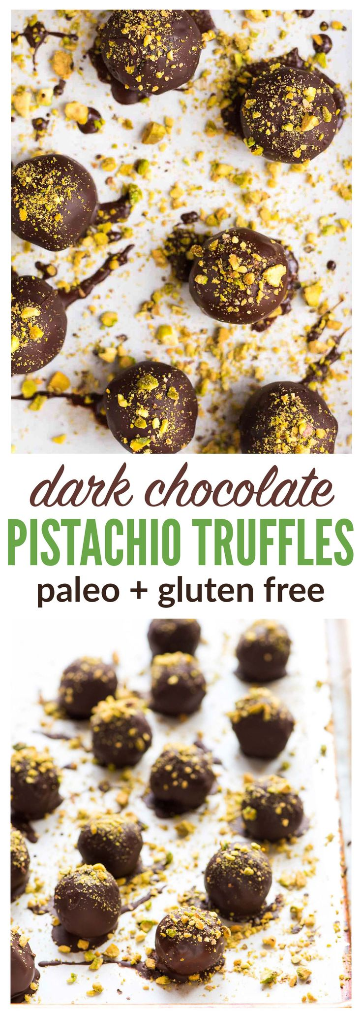 Dark Chocolate Paleo Pistachio Truffles. A healthy raw vegan dessert that everyone can enjoy! This no bake dessert is perfect for homemade Christmas gifts, cookie plates, or anytime you want a treat at the holidays! {gluten free, clean eating, and dairy free} Recipe at wellplated.com | @wellplated