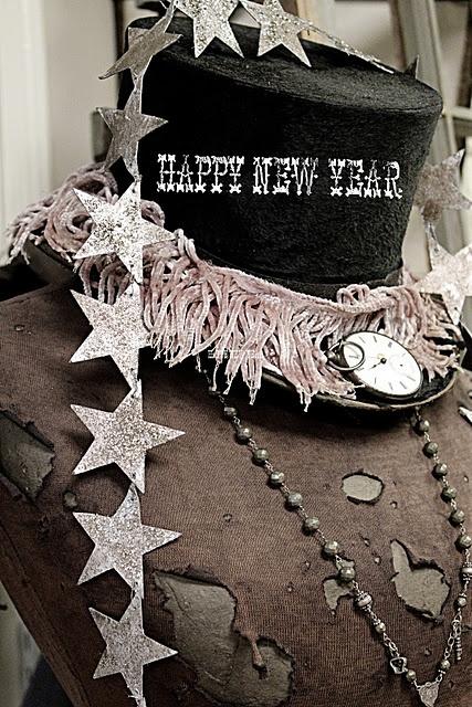 Happy new year vintage top hat vignette!