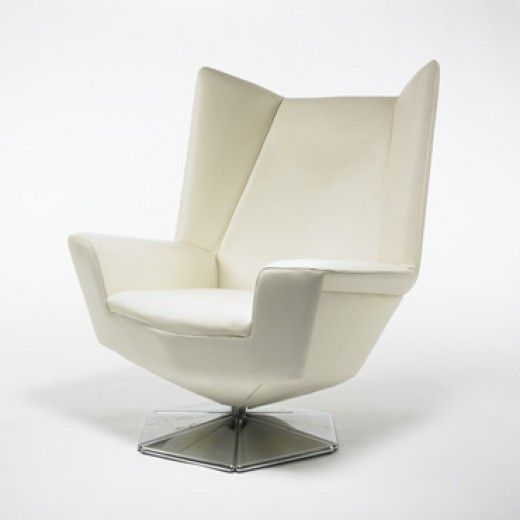 VOITTO HAAPALAINEN  Prisma chair  Tehokaluste Oy Finland , c. 1970 leather, chrome-plated steel 34.25 w x 35 d x 41 h inches Signed with app...