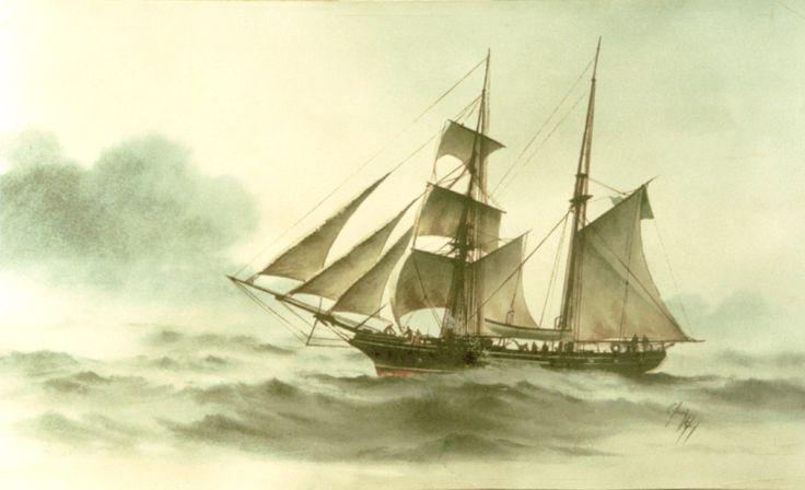 XIX CENTURY BRAZILIAN SCHOOL SHIP APRENDIZ DE MARINHEIRO - WATERCOLOR
