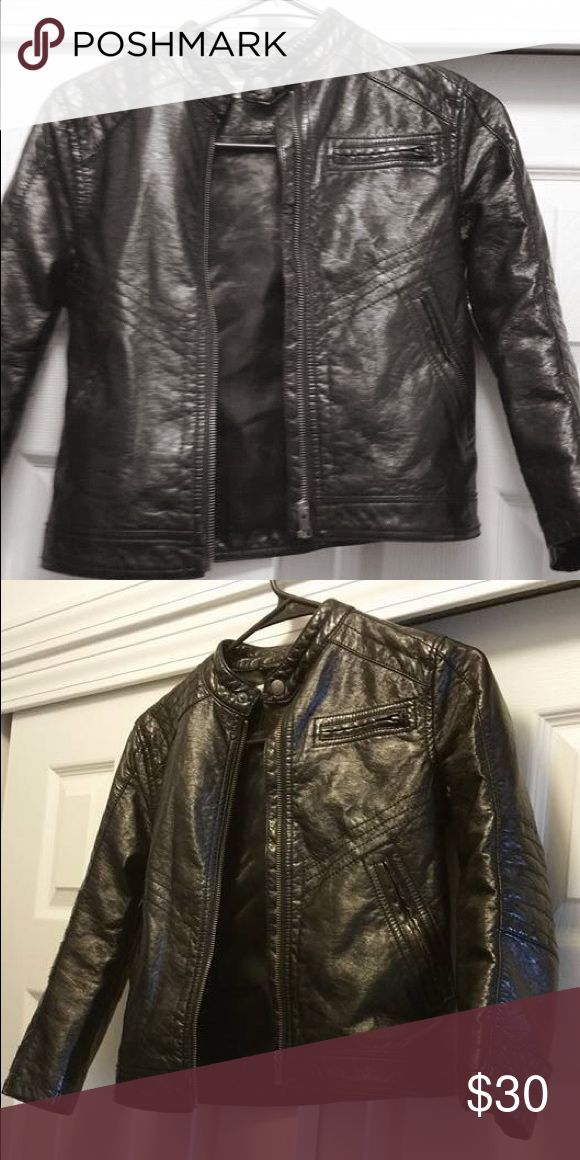 Boys leather jacket (Kids jacket) Boy's leather jacket (faux) (Size 7/8 Youth) Color: Black This jacket is in excellent condition no rips no tears from a smoke free pet free home Jackets & Coats