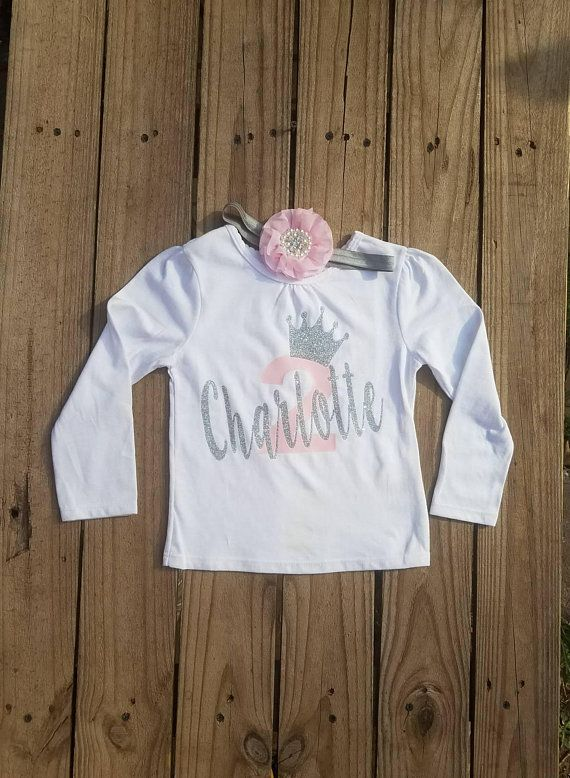 c95200173dc7 Two Year Old Birthday Girls, Toddler Personalized Shirt, Happy Birthday  Shirt 2, Lt Pink and Silver Smash Cake Outfit, 2nd Birthday Party in 2019 |  crown ...