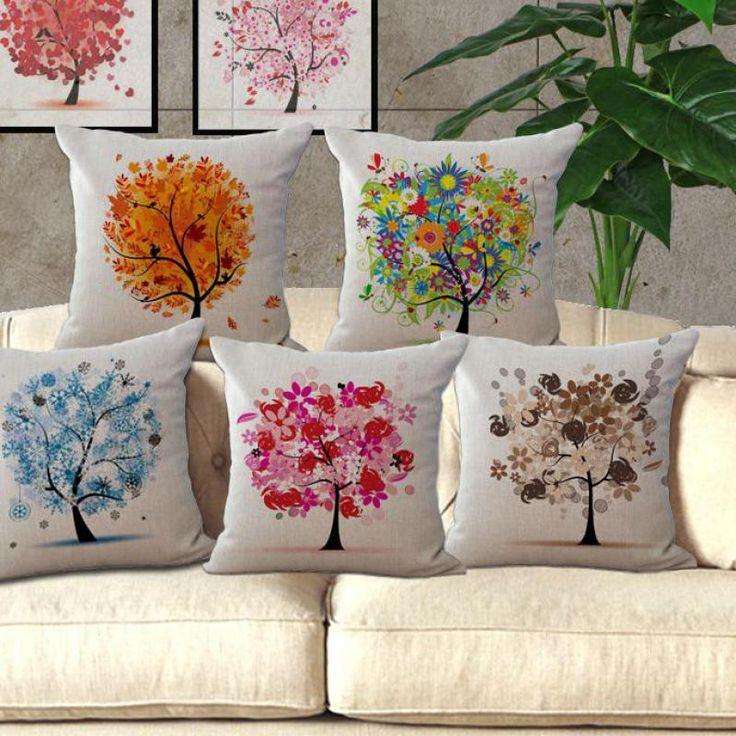 Free Shipping Cotton Linen Sofa Pillow Life Tree Waist Cushion Gift  Creative Home Decorative Pillow Photo