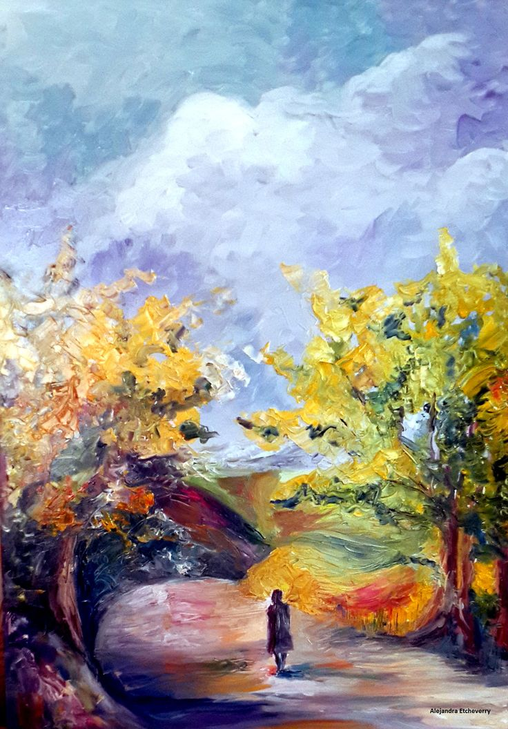 Título: Un día lluvioso, como hoy... - Óleo sobre madera (60X43cm) Espátula y pincel - San Luis, Argentina - Autora: Alejandra Etcheverry