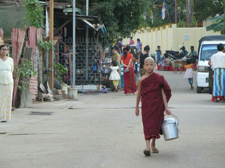 Young monk in the streets of Yangon, Myanmar