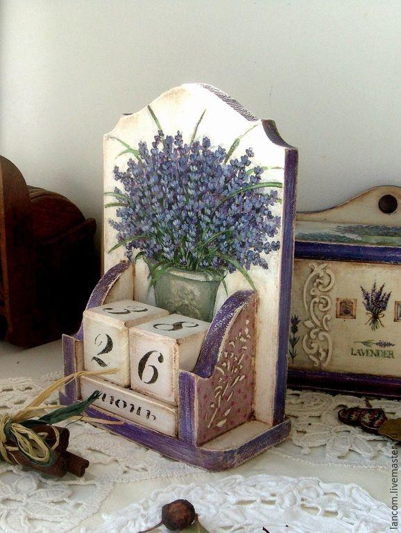 """Купить Вечный календарь """"Лавандовый"""" - васильковый, вечный календарь, вечный календарь декупаж, лаванда, прованс"""