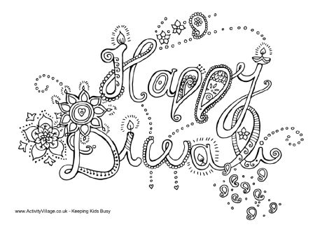 Happy Diwali colouring page