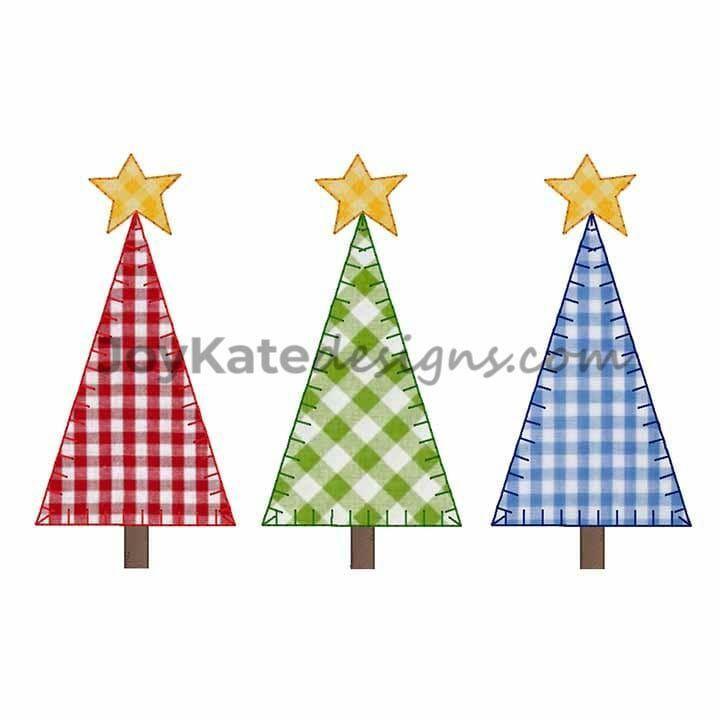 Christmas Tree Blanket Stitch Trio Applique Embroidery Design Joy Kate Designs Ap Applique Embroidery Designs Embroidery Designs Winter Embroidery Design