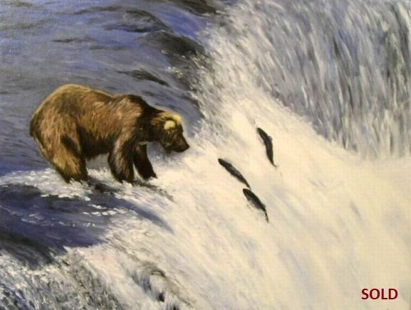 """Ive Vresan -""""Bear catching Salmons""""- 16''x20''  seascape, animals. Oil painting on canvas."""
