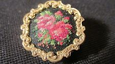 Rare, Vintage, Floral, Roses Needlepoint Pin Circa 1920's 1930's, Not Marked