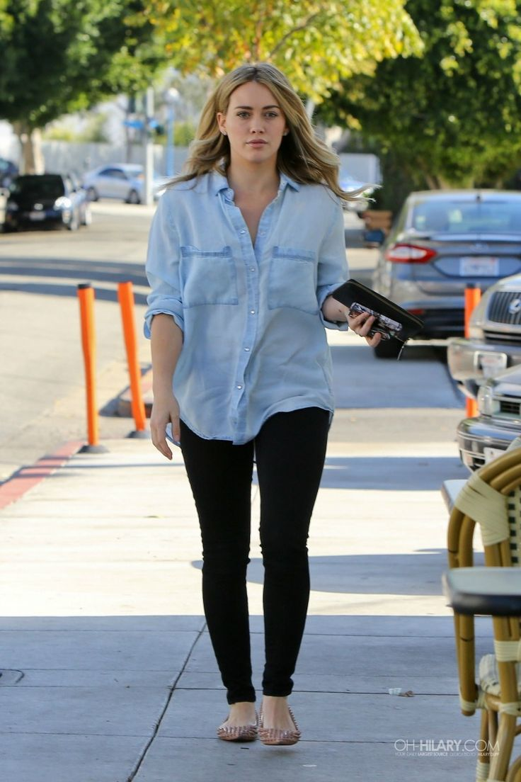 Hilary Duff wearing Christian Louboutin Pigalle Spikes Flat in Nude SAM & LAVI Donna button up shirt in Chambray Indigo