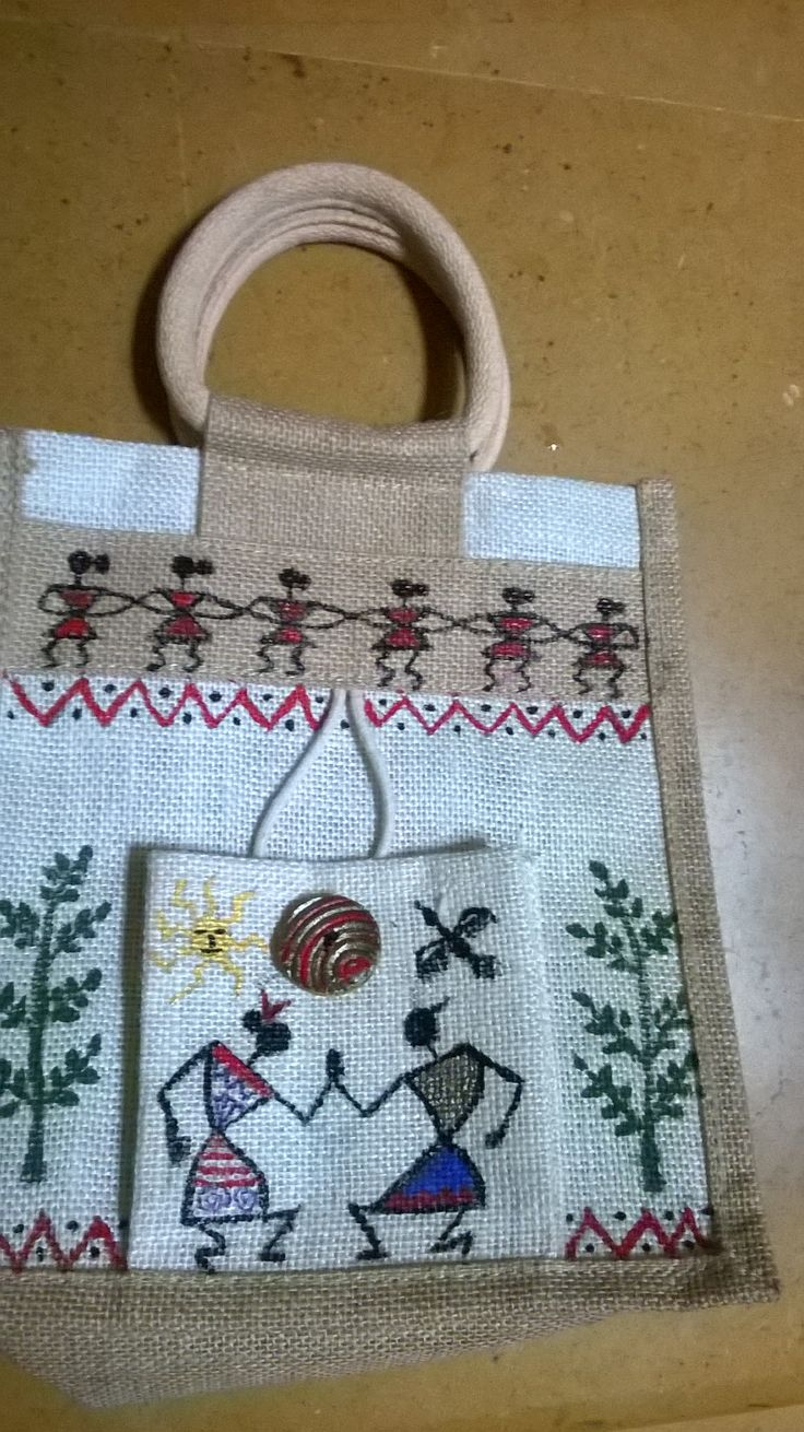 Warli painting on a jute bag.