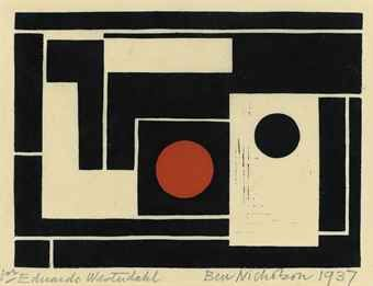 Ben Nicholson Abstract with red circle (Lewison 15)
