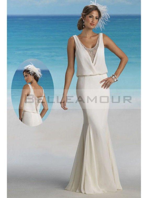 Robe de mariée plage Sexy Mousseline Longue Sirène Dos nu   Col U