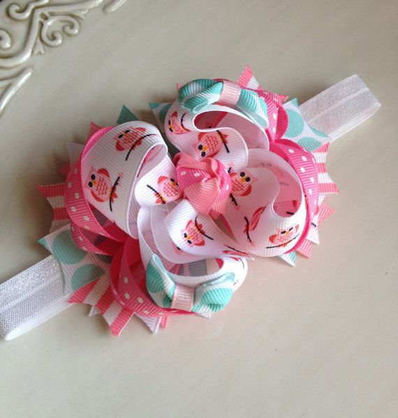 Hey, I found this really awesome Etsy listing at https://www.etsy.com/listing/162471850/pink-and-turquoise-owl-bow-boutique-bow