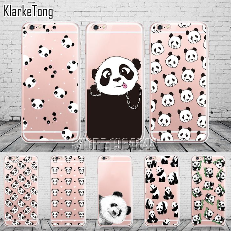 Cute Cartoon Animal Panda Case For Iphone SE 5 5S 6 6S 7 Plus Transparent Silicone Phone Back Cover Coque