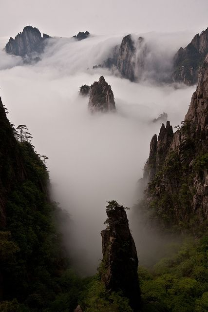 Huang Shan, China - foggy mountains by Raphael Bick.